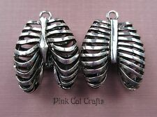 2 x RIB CAGE ANATOMICAL SCIENCE Tibetan Silver 3D Charms Pendants Beads
