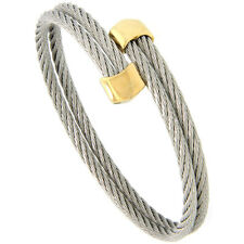 Stainless Steel 7 in. Cable Golf Cuff Bracelet w/ Gold-Tone Ends