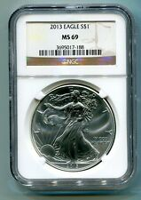 2013 AMERICAN SILVER EAGLE NGC MS69 BROWN  /GOLD LABEL PREMIUM QUALITY FAST SHIP