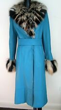 DOLCE & GABBANA  Pre-Owned Blue Leather 100% Fur Collar Cuffs Coat IT 38 US 4