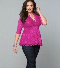 Plus Size Women''s Sexy-V 3/4 Sleeve Lace Shirt Casual T shirt Top Blouse Summer