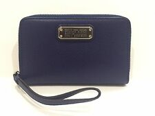 NWT MARC BY MARC JACOBS Wingman Zip Around Dark Blue Leather Wristlet Wallet