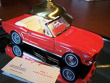 FRANKLIN MINT 1964 1/2  RED FORD MUSTANG  CONVERTIBLE WITH BOX AND PAPERWORK
