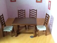 Table William and Mary Style and 4 chairs with strung seats 1:12th scale