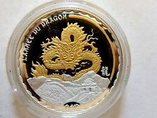 "2012 Cameroon ""Year Of The Dragon"" Gilt Silver 1000 Francs Coin"