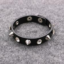 Punk Rock Spike Rivet Crystal Stud Leather Bangle Bracelet Cuff Wristband
