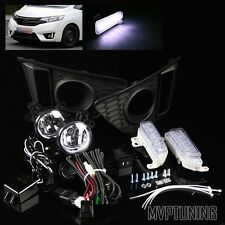 For 14-16 Honda Fit Clear Fog Lights Lamp + Switch/LED Daytime Running DRL Bezel