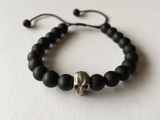 SNOWFLAKE JEWELLERY HAND MADE ONYX & STERLING SILVER SKULL ADJUSTABLE  BRACELET