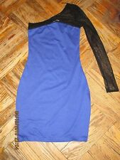 AQUA BY BLOOMINGDALES  BLUE  ONE-SHOULDER MESH BODYCON MINI DRESS SIZE: S NEW!