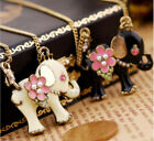 N69 Betsey Johnson Thai India Baby Elephant Calf w/ Pearl Flower Necklace US