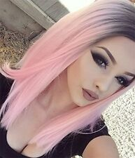 Synthetic Lace Front Straight Wig Ombre Color Black to Pink Medium Hair