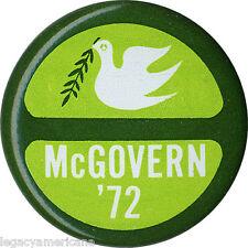 Official 1972 George McGovern Vietnam War Peace Dove Logo Button (2780)