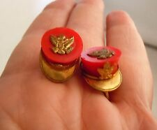 Vintage WWII Sweetheart Military Red Plastic Hat, Brass Eagle Earrings, Rare!