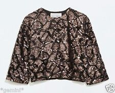 Zara size L/40 veste paillettes chemisier sequin Jacket Beaded Blouson jewelled