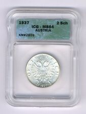 AUSTRIA  1937  2 SCHILLING SILVER COIN CHOICE UNCIRCULATED, ICG CERTIFIED MS-64