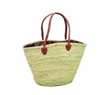 Moroccan Straw & Leather Shopping French Market Basket Bag Large Moroccan