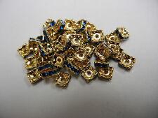 48 Swarovski Xilion squaredelle rhinestone rondelles 4mm Capri Blue / Gold