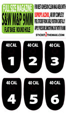 S&W M&P 40 CAL WHITE NUMBER SET 1-6 MAGAZINE BASE PLATE STICKERS