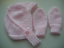 HAND KNITTED BABY HAT AND MITTENS - BIRTH TO 3 MONTH PINK