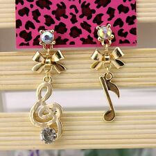 NEW Fashion Betsey Johnson Beautiful Crystal Music Alloy BJ Earrings BJEA023
