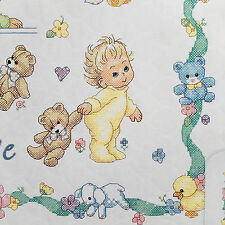 "Dimensions Baby Hugs New Baby Quilt Stamped Cross Stitch Kit 34"" x 43"" Made USA"