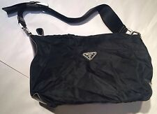 Prada Nylon Black Baguette Purse small Handbag (PU800) Satchel Bags Italy