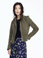 NWT  Banana Republic 100% Leather Olive Suede Moto Jacket SZ S