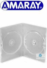 5 Double Clear DVD Case 14 mm Spine New Replacement Cover Holds 2 Disks Amaray