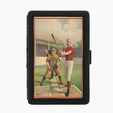 Vintage Baseball D3 Black Cigarette Case / Metal Wallet Card Money Holder
