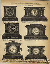 1892 PAPER AD Wood Wooden Marbleized & Marble Clock Onyx Imported French