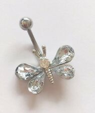 Belly bars bar navel ring body piercing crystal butterfly's surgical steel