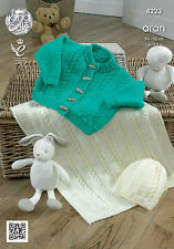 King Cole Baby Girls Cardigan, Blanket & Hat Aran Yarn Knitting Pattern 4223