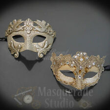 His & Her's Couples Silver Roman and Small Ivory Fancy Costume Masquerade Masks