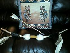 "BOW AND ARROW NATIVE AMERICAN INDIAN 48"" SHOOTER with FLAX"