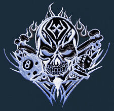 SKULL TRIBAL TATTOO MOTORCYCLE BIKER Embroidered Iron on Patch Free Shipping