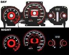 96-00 EK Civic EX Si GLi EL Glow Gauge RADIANT RED Reverse AT KMH BLACK Gauges