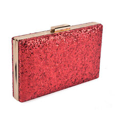 GLITZER PAILLETTEN STRASS ABENDTASCHE CLUTCH ELEGANT PARTY ROT DAMEN COCKTAIL