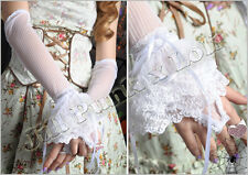Gothic aristocrat hunting goddess striped flare lace opera gloves【JR1019W】