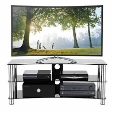 TV Stand Fits 32-55 inch LED LCD TV 3 Glass Shelf Curved Cabinet Chrome Leg
