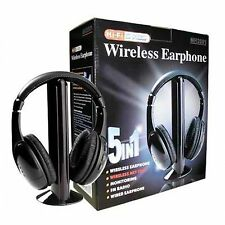 Cuffie Stereo Wireless 5 IN 1 Senza Fili WIFI Cuffia per Pc Tv Mp3 televisione