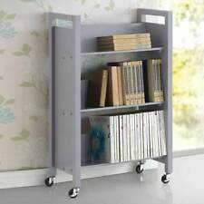 Berton 3-Tier Shelves Bookshelf Bookcase Storage Library Cart Rolling Base Grey