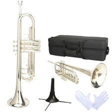 New LADE Professional Bb Alloy Silver Trumpet with Case Stand & Accessories