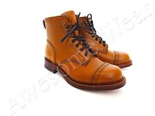 New Ralph Lauren RRL England Made Classic Tan Leather Bowery Boots Shoes sz 7.5