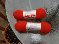 TWO SKEINS BROWN SHEEP LAMBS PRIDE WORSTED WOOL/MOHAIR YARN IN CAYENNE