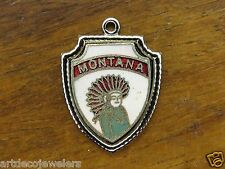 Vintage silver MONTANA INDIAN CHIEF STATE TRAVEL SHIELD BRACELET charm