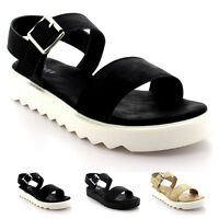 Womens Flatform Double Strap Fashion Holiday Open Toe Cleated Sole Sandal UK 3-9