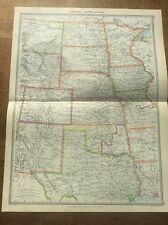 Antique 1904 colour map Central United States US USA HARMSWORTH UNIVERSAL ATLAS