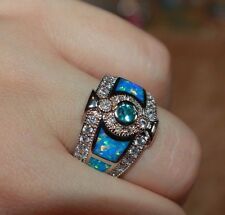 blue fire opal Cz topaz ring gemstone silver jewelry 6.25 vng style engagement