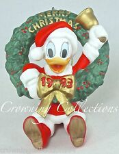 1993 Grolier Daisy Duck Annual Disney Ornament Dated Porcelain Wreath with Bell