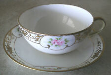 10 VTG Handpainted Spoke Nippon Pink Roses/Gold Trim China Teacups/Saucers MINT